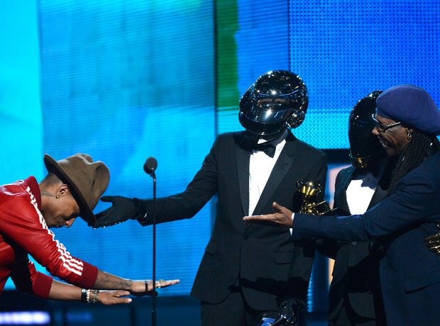 Daft Punk and Pharrell William on stage at the Gra