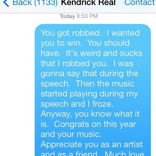 Kendrick Lamar text message from Macklemore