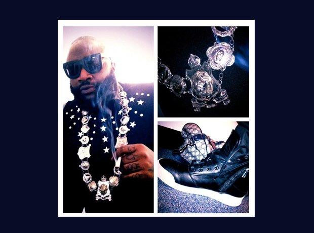 Rick Ross Instagram smoking necklace trainers
