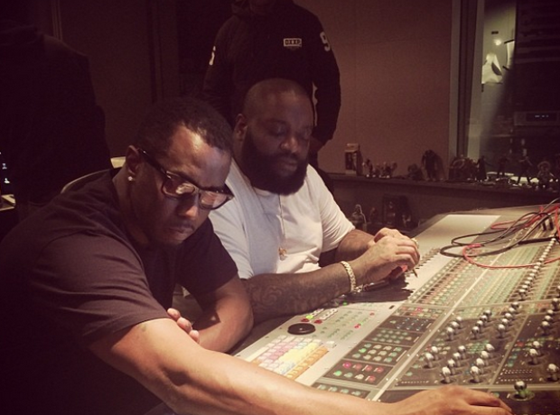 P Diddy and Rick Ross in the studio