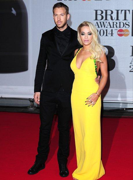 Rita Ora and Calvin Harris BRIT Awards 2014 Red Ca
