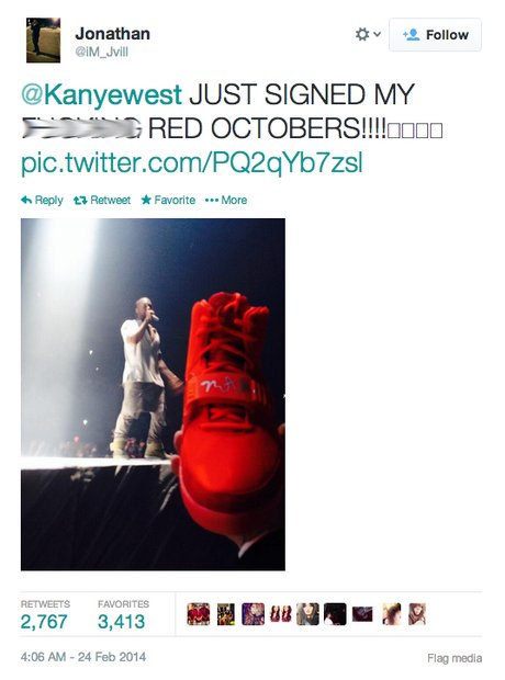 Kanye signed red octobers tweet
