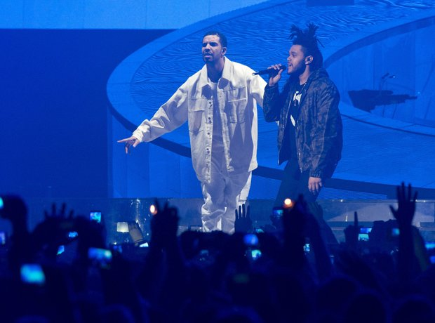 Drake and Abel Tesfaye  on stage
