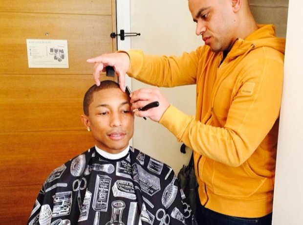 Pharrell Williams has a haircut before the Oscars