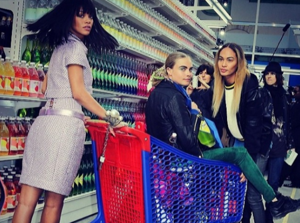 Rihanna Cara shopping trolley