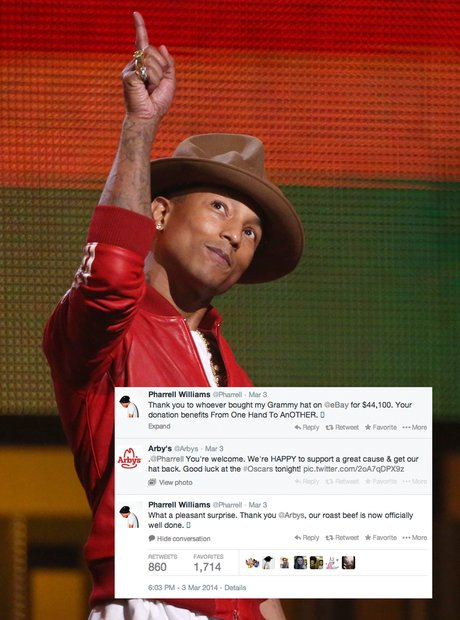 11f593ce50fb3 We found out that Arby s were the ones that bought Pharrell s famous  Grammys hat.