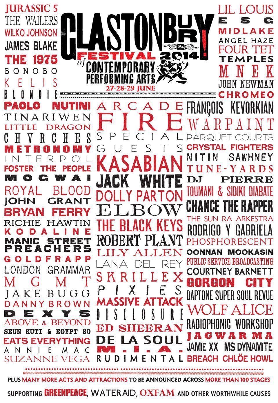 Glastonbury 2014 line-up 1