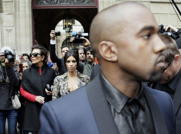 Kanye West and Kim Kardashian in Paris
