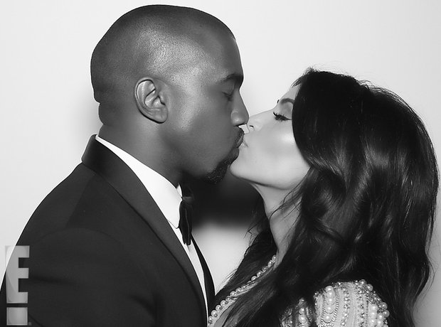 Kim Kardashian and Kanye West kissing at Wedding 2014