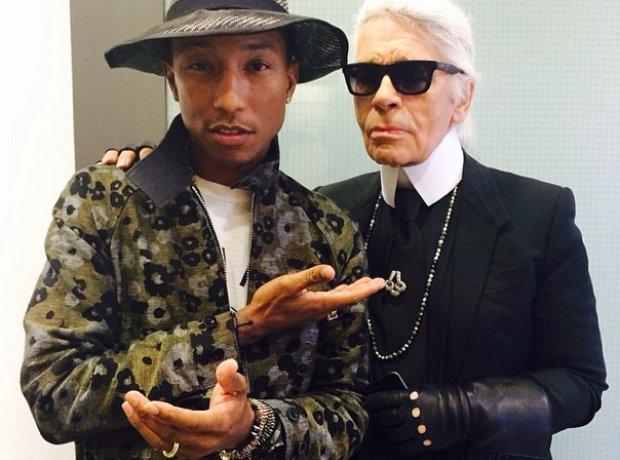 Pharrell Williams and Karl Lagerfeld