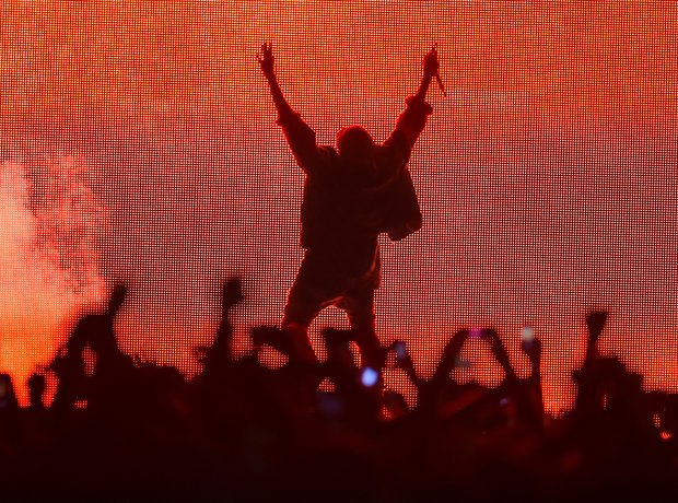 Kanye West performs at the Bonnaroo