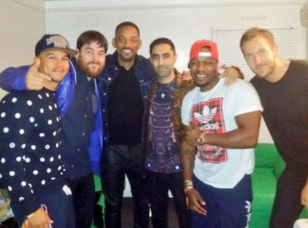 Will Smith with Rudimental and Calvin Harris at T In The Park