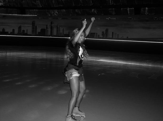 Beyonce rollerblading