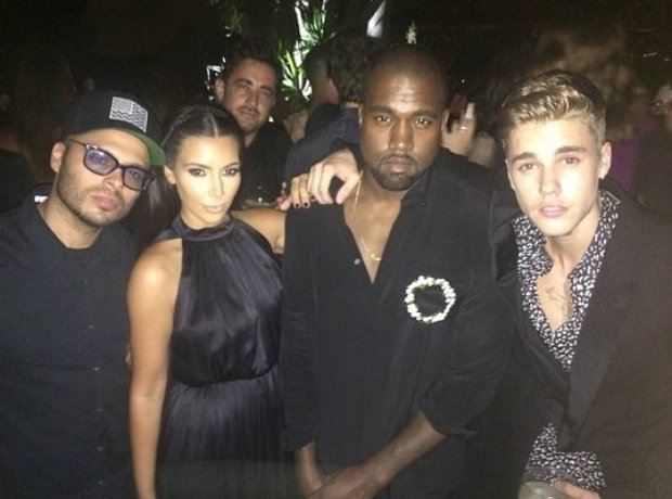 Kanye West With Kim Kardashian and Justin Bieber