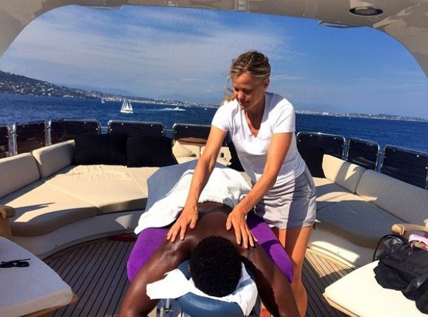 Tinie Tempah massage on a boat