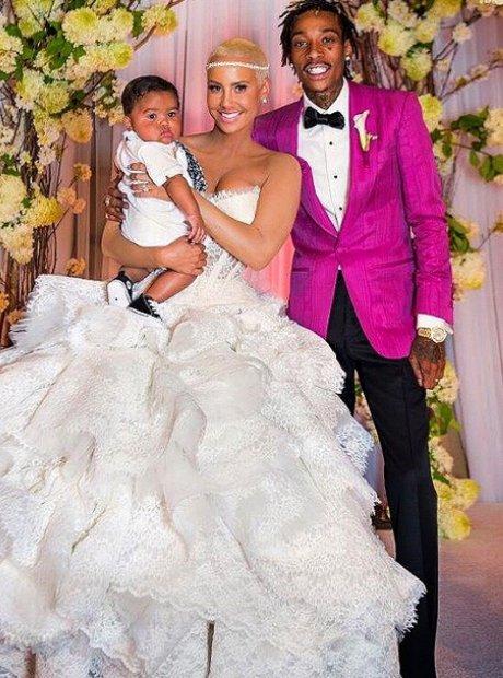 Amber Rose and Wiz Khalifa on their wedding day