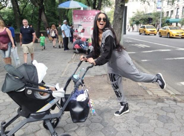 Ciara pushing pram