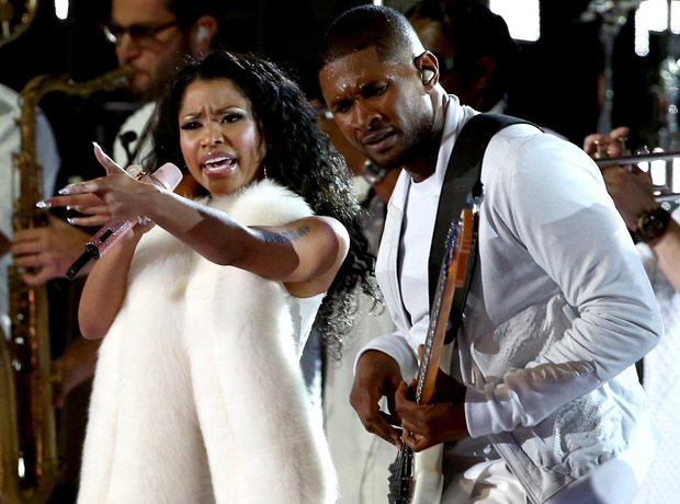 Nicki Minaj and Usher performing at the VMAs