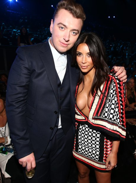 Sam Smith and Kim Kardashian at the VMAs 2014