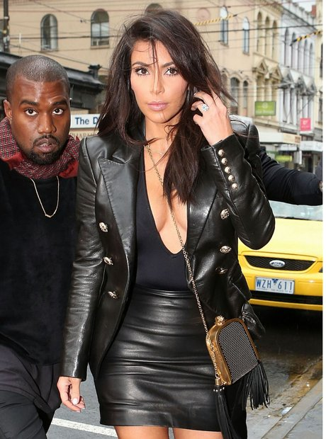 Kim Kardashian wearing leather