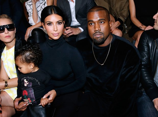 Kim Kardashian, Kanye West and North Front Row