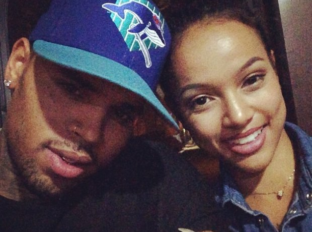 Chris Brown smiling with Karrueche