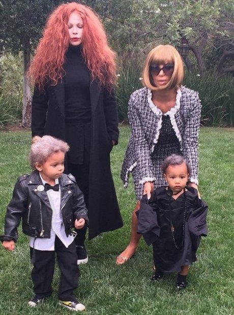 Kim Kardashian dressed as Anna Wintour at Halloween