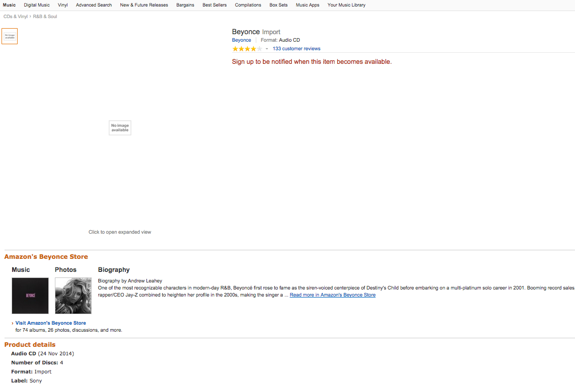 Amazon Beyonce screen shot