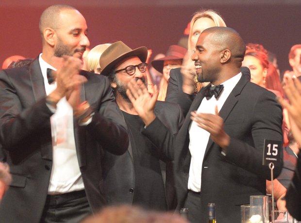 Swizz Beatz, Mr. Brainwash and Kanye West attend K