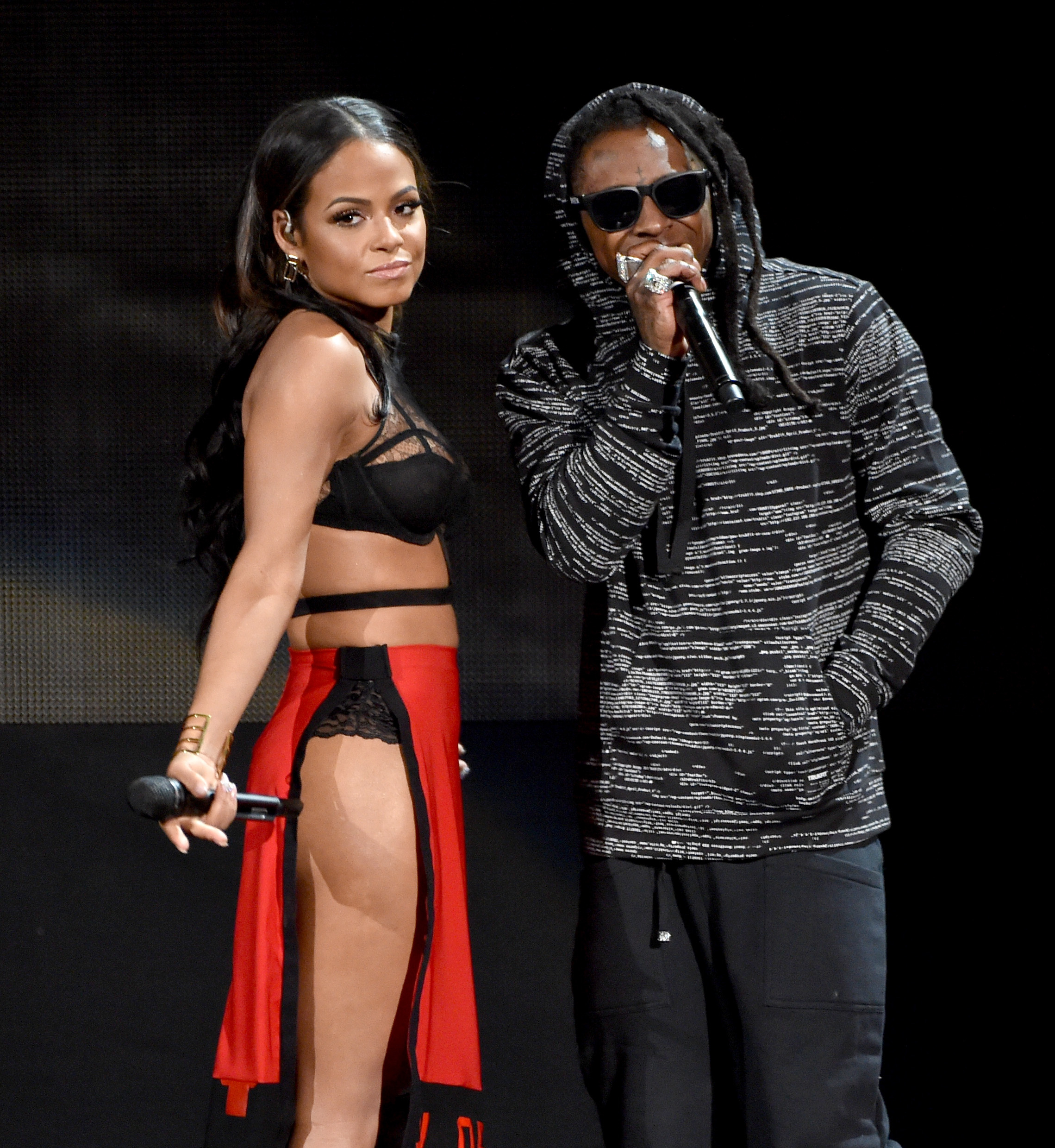 Christina Milian and Lil Wayne on stage American M