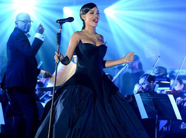 Rihanna performing at charity event