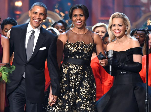 Barack Obama, Michelle Obama and Rita Ora