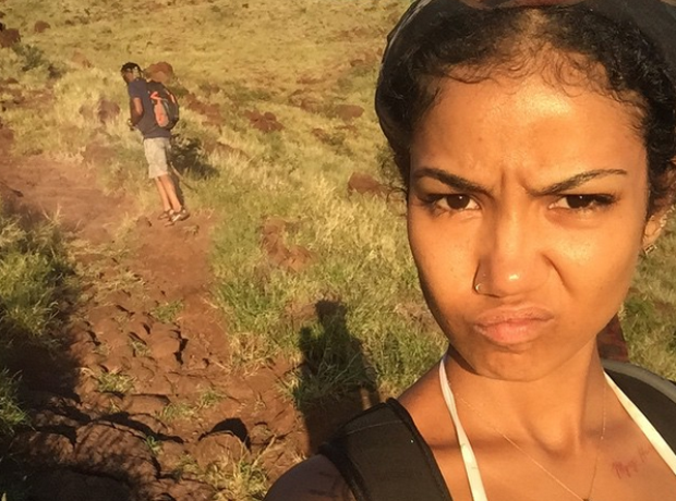 Jhene Aiko hiking