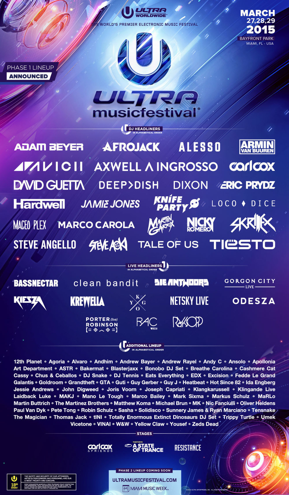 Ultra Music Festival 2015 Phase One Lineup