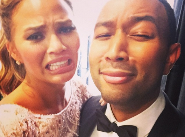 John Legend and Chrissy Teige Golden Globes 2015