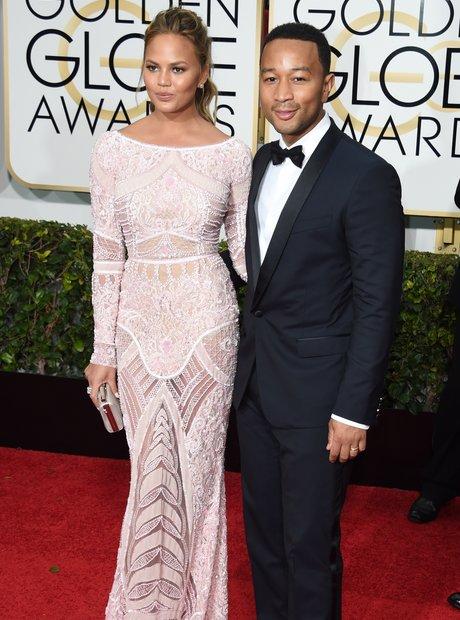 John Legend and Chrissy Teige Golden Globes 2015
