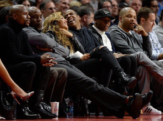 Beyonce and Jay Z laughing