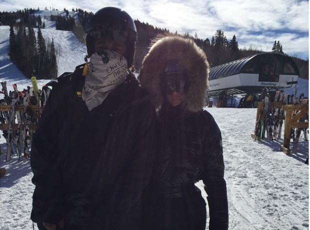 Kim and Kanye Skiing Instagram