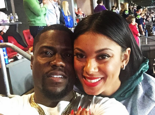 Kevin Hart and Fiance Super Bowl 2015