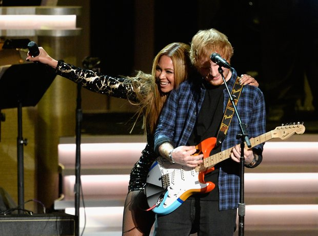 Beyonce and Ed Sheeran on stage at Stevie Wonder