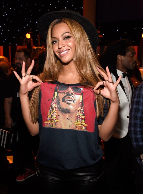 Beyonce wearing Stevie Wonder T Shirt