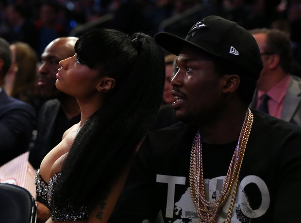 Nicki Minaj and Meek Mill attend the 2015 NBA All-