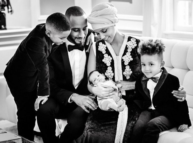 Alicia Keys With Family and new son Genesis.