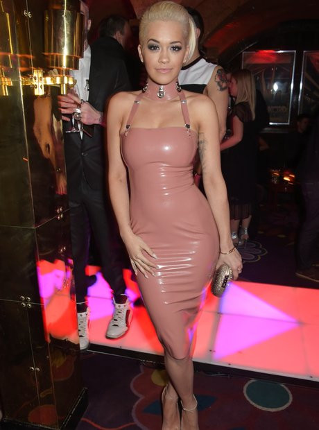 Rita Ora wearing a rubber dress