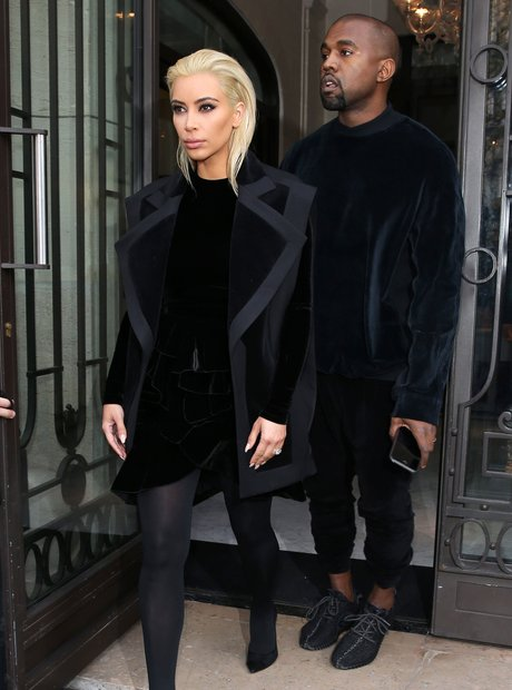 Kanye West and Kim Kasdashian with Blonde hair