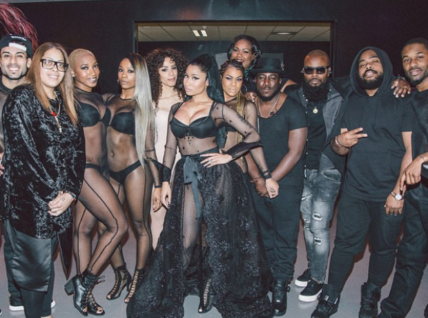 Nicki Minaj with tour crew