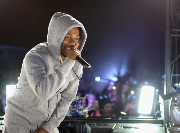 Kendrick Lamar performs on truck
