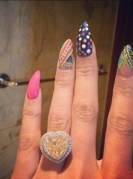 Nicki Minaj wears a ring on her ring finger
