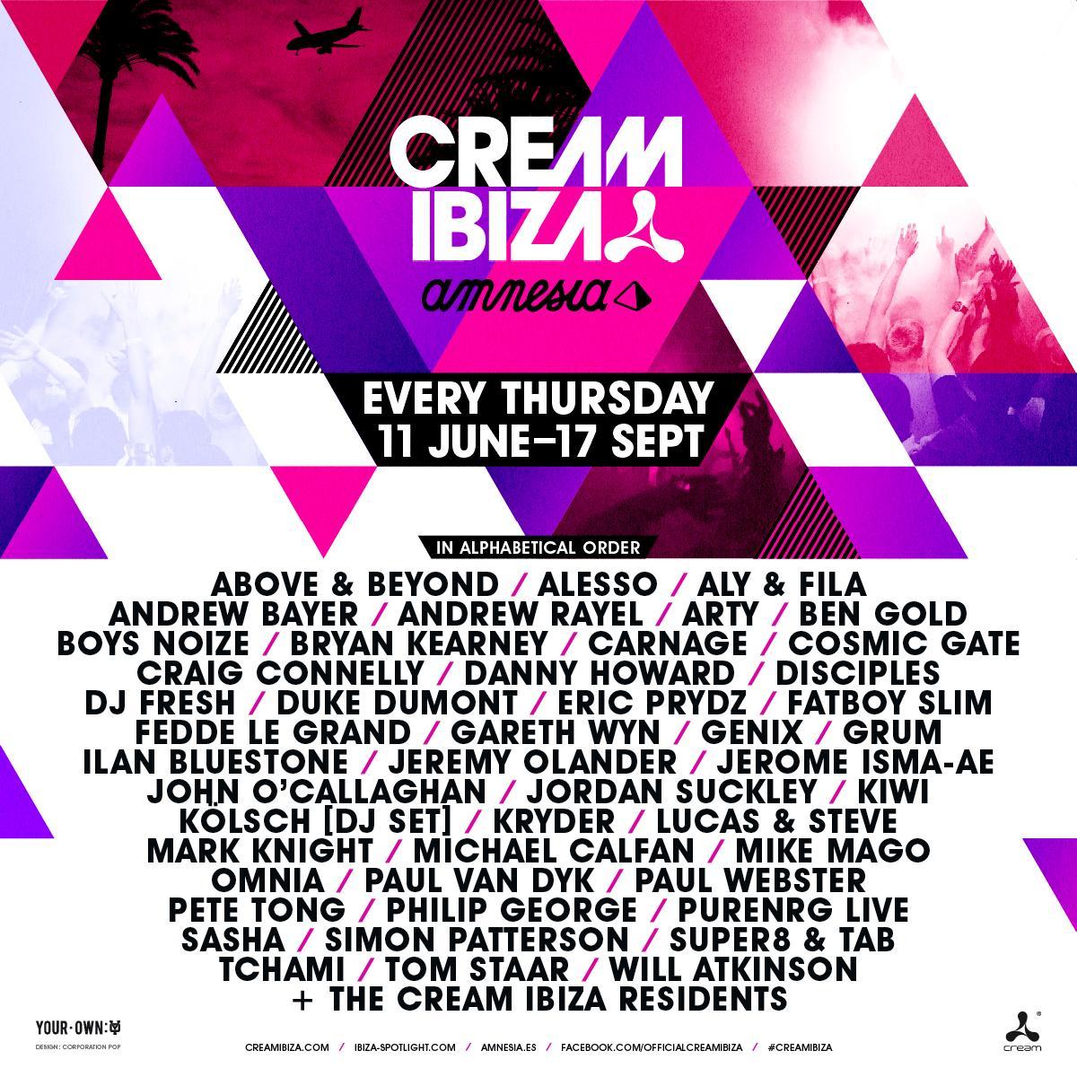 Cream ibiza line up 2015