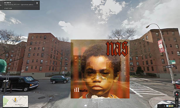 Hip hop album covers in street view